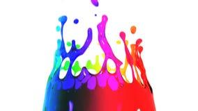 Gekleurde verfplonsen in langzame motie Grote dalingen HD 1080 royalty-vrije illustratie