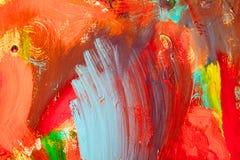 Gekleurde verfslagen Abstracte kunstachtergrond Detail van een kunstwerk Eigentijds art. Kleurrijke textuur dikke verf stock foto