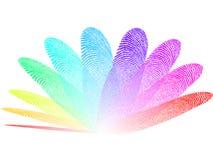 Gekleurde vingerafdrukken, witte en transparante achtergrond Stock Fotografie