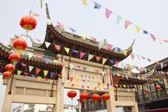 Gekleurde vlaggen in Suzhou, China stock afbeelding