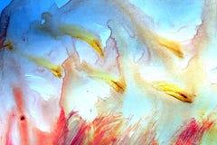 Gekleurde vlekken op het document Palet met verfvlekken stock illustratie