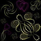Gekleurde voorwerpen en harten met gradiënt Stock Fotografie
