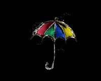 Gekleurde Waterparaplu op Zwarte Stock Afbeeldingen