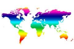Gekleurde Wereldkaart Stock Foto's