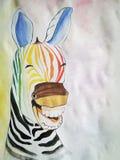 Gekleurde zebra stock afbeelding