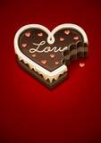Geknaagde aan zoete chocoladecake als hart met liefde Stock Afbeelding