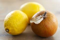 Geknitterter Apfel und zwei Zitronen lizenzfreie stockbilder