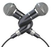Geknoopte microfoons Stock Foto's
