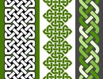 3 geknoopte naadloze grenzen, vectorillustratie Stock Foto