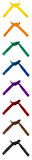 Geknotete Karate-Gurte eingestellt von acht stockbild