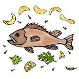 Gekochte Fische mit Potatoo Chips Herbs Spices Lemon Vektor-Meeresfrüchte-realistische Illustration Lizenzfreie Stockbilder