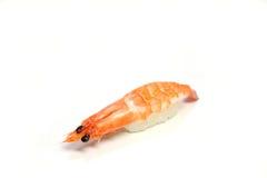 Gekochte Garnele nigiri Sushi im Weiß Stockbilder