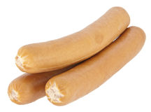 Gekochte Hotdogwürste auf weißem Hintergrund Stockfoto