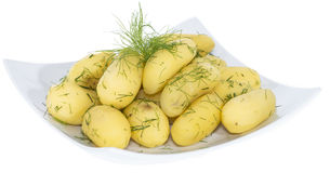 Gekochte Kartoffeln (auf Weiß) Stockbild