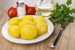 Gekochte Kartoffeln in der Platte, Petersilie, Pflanzenöl, Salz, Tomaten Lizenzfreie Stockfotos
