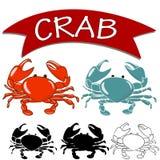 Gekochte Krabbe und Livekrabbe lokalisiert auf weißem Hintergrund vektor abbildung