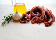 Gekochte Krake mit Knoblauch, Rosmarin und Olivenöl Stockbild