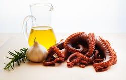 Gekochte Krake mit Knoblauch, Rosmarin und Olivenöl Lizenzfreies Stockbild