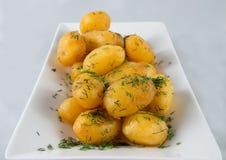 Gekochte und gebratene Kartoffeln Stockbild