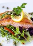 Gekochter alaskischer Salmon With Vegetables, Zitronen-Scheibe und schmückt Stockfotos