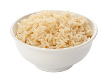 Gekochter Reis in einer weißen Schüssel Stockbild