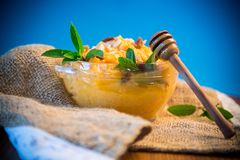 Gekochter süßer Kürbisbrei mit Rosinen und Nüssen in einer Glasschüssel Stockfoto