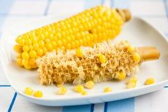 Gekochter und Hälfte-gegessener Mais Lizenzfreies Stockfoto
