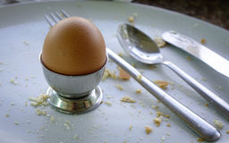 Gekochtes braunes Ei im Eierbecher auf einem Holztisch Lizenzfreies Stockbild