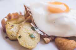 Gekochtes Ei und Kartoffeln der Zusammensetzung wigg Stockfotos