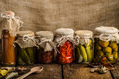 Gekochtes Gemüse, Essiggurken, selbst gemachter Ketschup Lizenzfreie Stockfotos