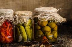 Gekochtes Gemüse, Essiggurken, selbst gemachter Ketschup Lizenzfreies Stockbild