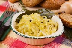 Gekochtes Sauerkraut, traditionelle deutsche Mahlzeit Lizenzfreie Stockfotos