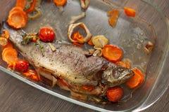 Gekochtes Seefisch dorado in einer Glaskasserolle mit Zitrone und Gewürze und Gemüse Selbst gemachtes Rezept, das Konzept kocht lizenzfreie stockbilder