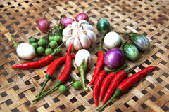 Gekochtes thailändisches Lebensmittel des Gemüses Stockfoto