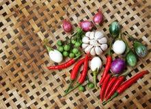Gekochtes thailändisches Lebensmittel des Gemüses stockbild