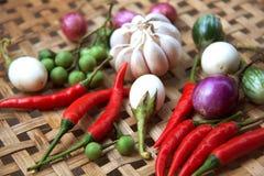 Gekochtes thailändisches Lebensmittel des Gemüses stockfotos