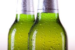 Gekoeld bier op witte achtergrond Royalty-vrije Stock Afbeeldingen