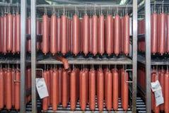 Gekoeld pakhuis voor het opslaan van vlees en worstproducten stock afbeelding