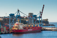 Gekoeld Vrachtschip in de haven stock foto's