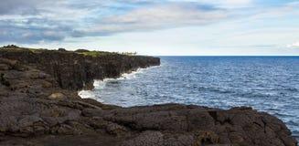 Gekoelde lavaklippen, het Oosten Rift Zone, Kilauea, Hawaï stock foto's