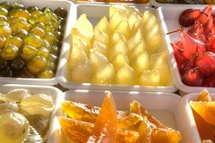 Gekonfijte vrucht, peren, kersen, meloen, fig. Royalty-vrije Stock Foto