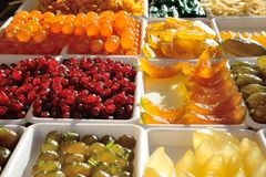 Gekonfijte vrucht, peren, kersen, meloen, fig. Royalty-vrije Stock Foto's