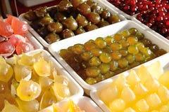Gekonfijte vrucht, peren, kersen, meloen, fig. Stock Afbeelding