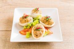 gekookt ei met fijngehakt varkensvlees royalty-vrije stock foto