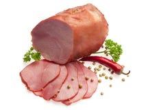 Gekookt varkensvlees dat met rode Bulgaarse peper wordt verfraaid Royalty-vrije Stock Afbeeldingen