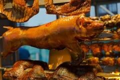 Gekookt varkensvlees en voorbereidingen getroffen royalty-vrije stock foto's