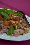 Gekookt Varkensvlees met het Knoflook van de Kalk en de Saus van de Spaanse peper Royalty-vrije Stock Fotografie