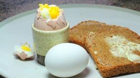 Gekookte eieren in eierdopje en toost Royalty-vrije Stock Foto's