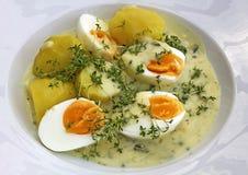 Gekookte eieren in mosterdsaus Stock Afbeeldingen
