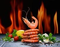 Gekookte garnalen, garnalen Stock Foto